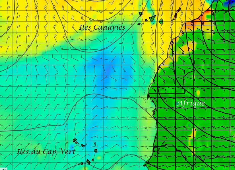 Les flèches indiquent la direction et la force du vent – prévision du 26 Décembre