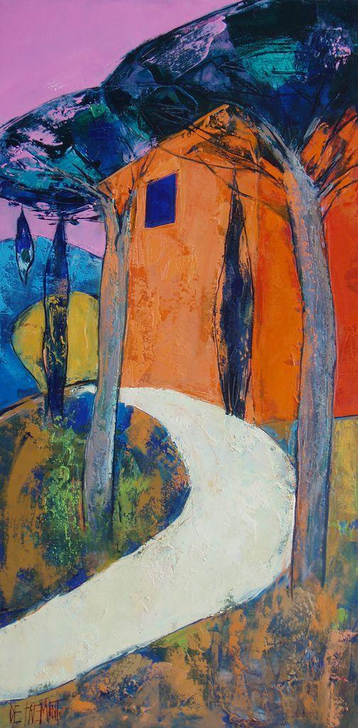 Les pins de la côte - huile sur toile -  50x100 - copyright adagp