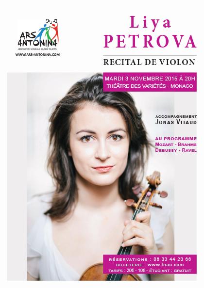 RECITAL DE VIOLON DE LIYA PETROVA au Théâtre des Variétés de Monaco le mardi 3 novembre 2015 à 20h