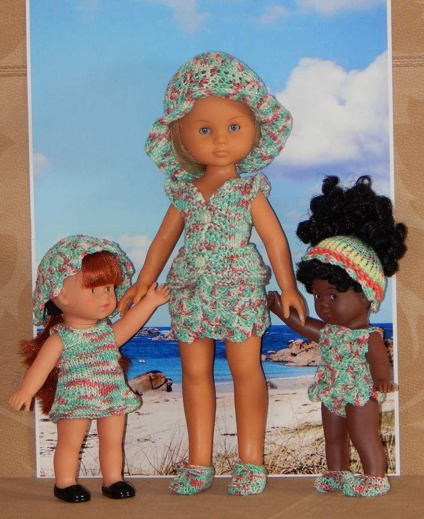 Corolle et Corolline tenues de plage, tricot et crochet