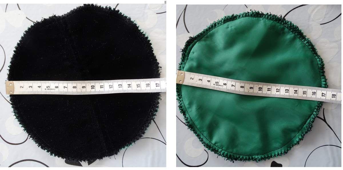 le fond du sac , côté velours et côté intérieur en doublure verte