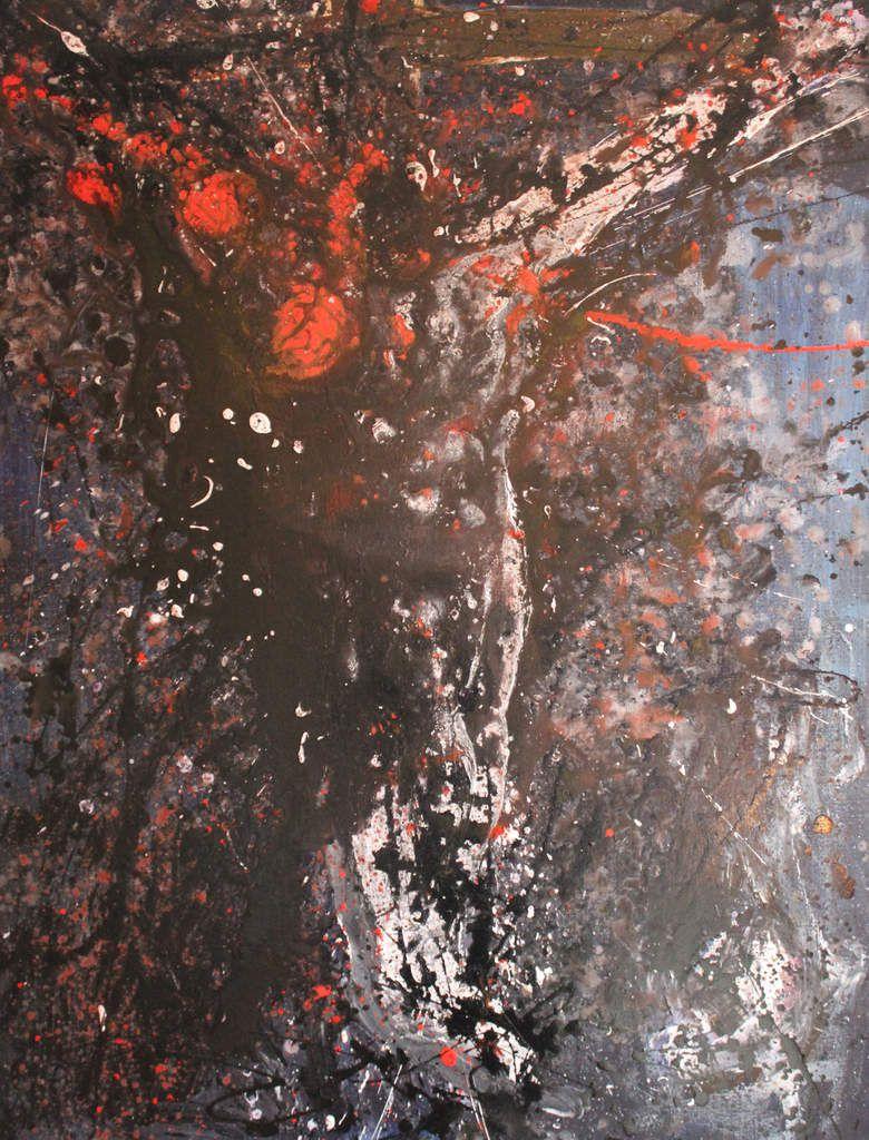 Crucifixion organique. Acrylique sur toile. 116x89cm. 2012. Collection particulière