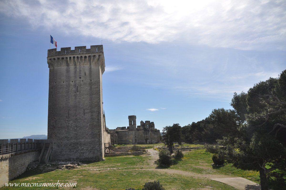 La Tour Maîtresse  et au fond, sur la droite, la Chapelle Castrale.