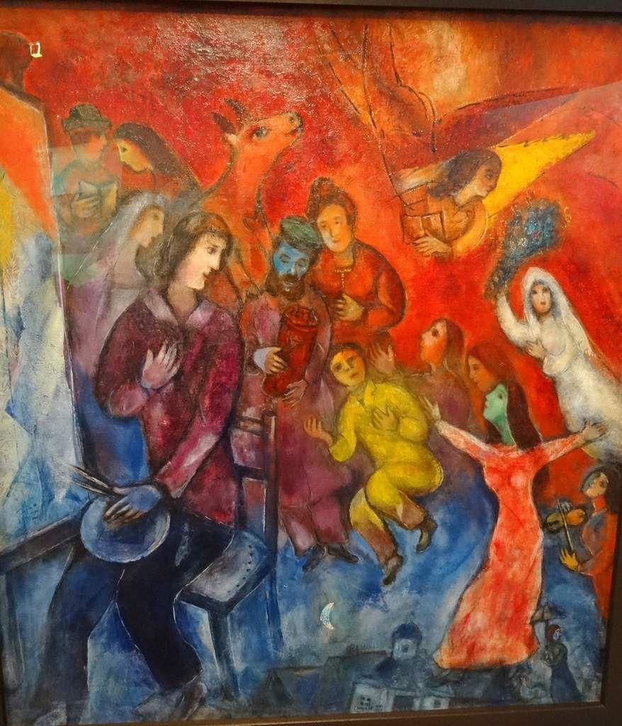 David à la mandoline, l'apparition de la famille de l'artiste, mosaÏque, vitraux