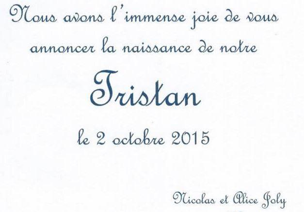 Naissance de Tristan Joly