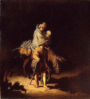 Fuite en Egypte de Rembrandt (1627)