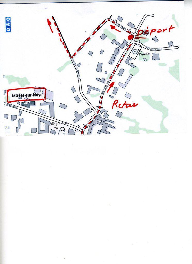 petit plan explicatif de Claude pour le départ de Estrées sur Noye le 18 prochain.tout en bas du plan vous avez l'Eglise. Bonne nouvelle rando à tous.