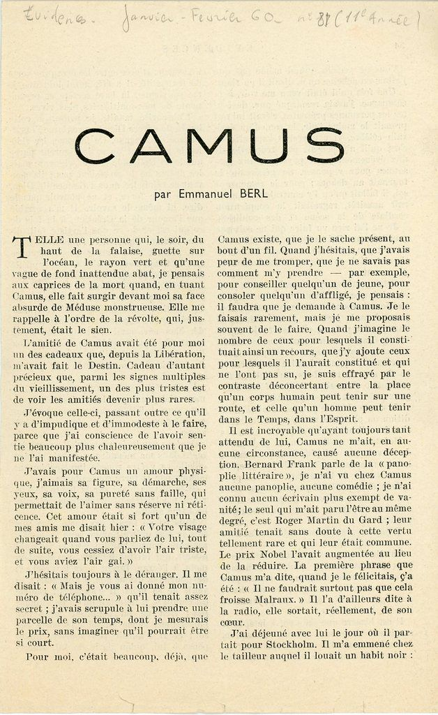 Camus par Emmanuel Berl