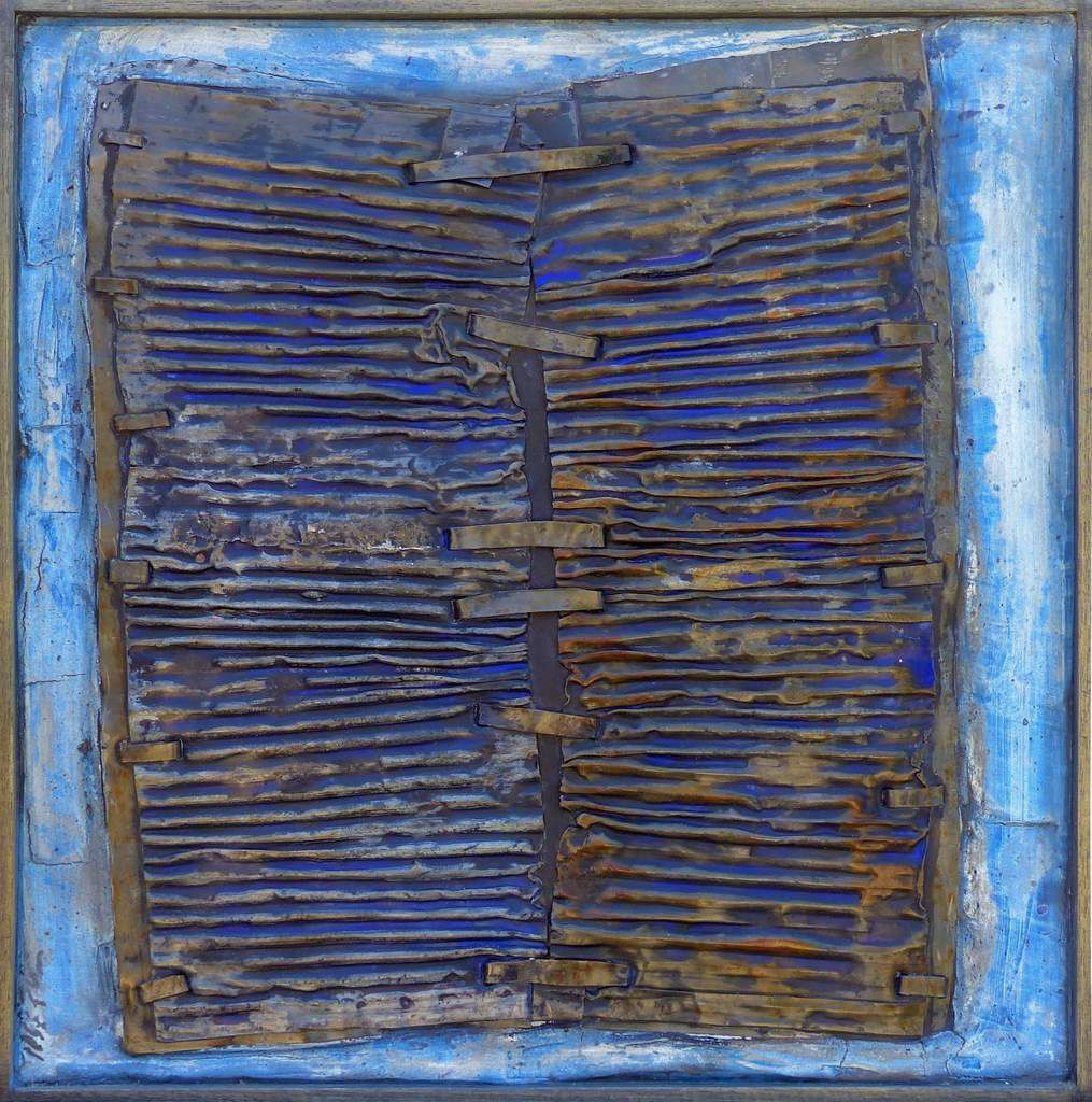 Ancrage, 2013. 50 x 50 cm. Plomb, colle, pigments.