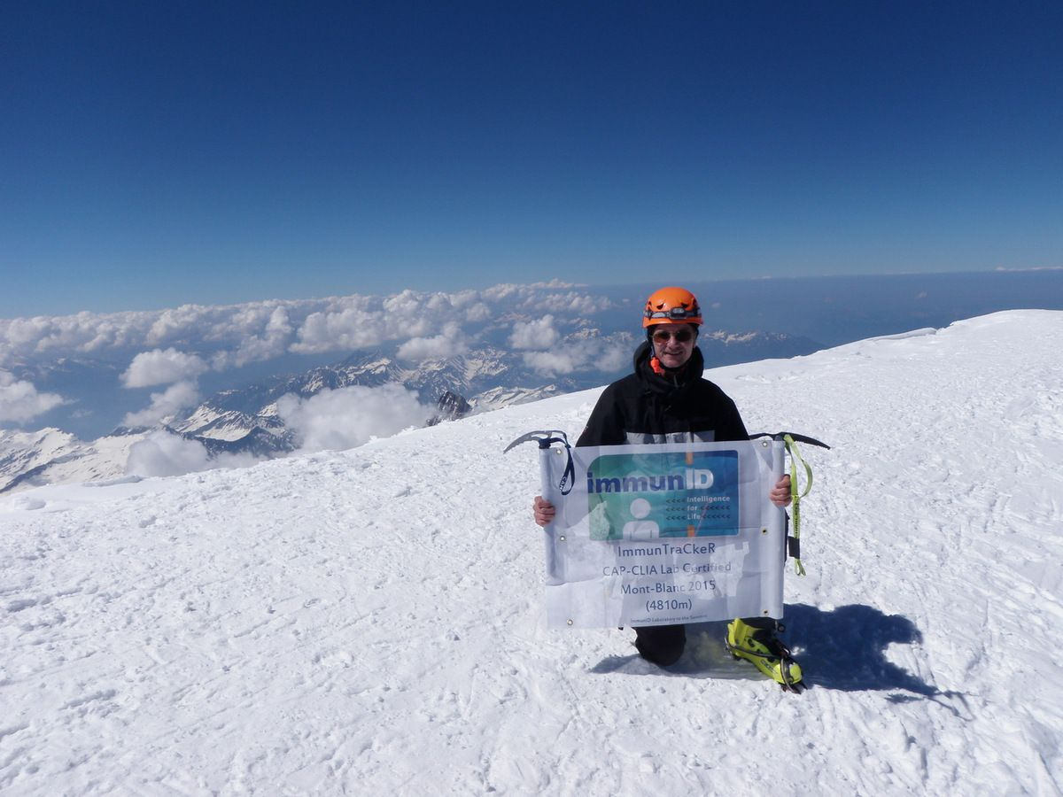 Dr Jean-François Mouret, ImmunID's Chief Technical Officer, on top of Mont-Blanc, highest mountain in Europe