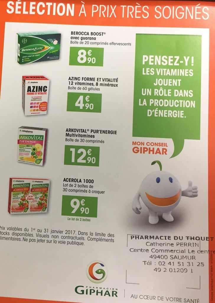 La pharmacie du Thouet vous propose ses promotions de janvier 2017