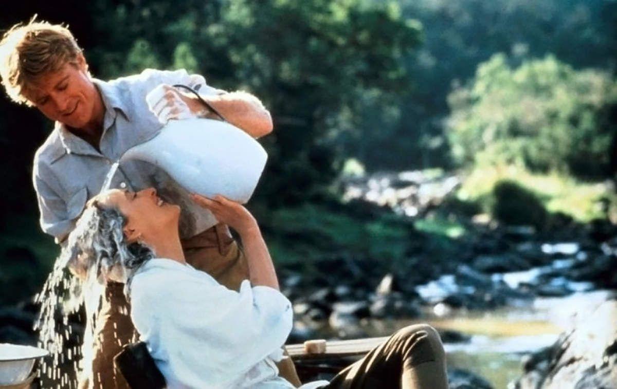 """Deux beaux et immenses acteurs réunis dans """"Out of Africa"""" de Sydney Pollack. 1985."""