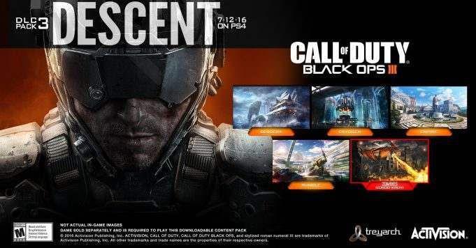"""Activision a annoncé le nouveau pack de DLC à venir pour Black Ops 3 appelés Descent, dans le communiqué de presse ils ont inclus une description de toutes les cartes à venir pour Black Ops 3. Ils ont également annoncé qu'ils ont refait la carte Raid de Black Ops II, et ils sont appelant Empire. mode multijoueur Empire: Treyarch adapte son système de mouvement Black Ops III du Call of Duty®: Black Ops II fan carte préférée Raid. La réinvention de ce classique, la carte de taille moyenne dispose d'une villa romaine authentique qui a été """"recréé par un milliardaire excentrique moderne», où une structure de carte classique se mélange avec les nouveaux mécanismes de jeu de Black Ops III. Cryogen: Situé loin de la côte dans la mer Morte, un composé isolé détient certains des criminels les plus dangereux du monde dans l'isolement congelé. tours Sentry veillent sur la conception circulaire de la petite carte comme combat frénétique est canalisé autour des tubes cryogéniques de la prison, où les possibilités d'attaques mur de fonctionnement abondent. factionnaires antiques d'un garde de la civilisation perdue l'entrée de Berserk, un village Viking figé dans le temps: Berserk. Les joueurs vont se battre à travers les tempêtes de neige, et contrôler le pont central comme ils naviguent bâtiments de cette carte de taille moyenne en bois, des affleurements rocheux mortels, et les goulots d'étranglement serrés. Rumble: Gamers bataille parmi les plus grands que la vie des guerriers mécanisées Rumble, un stade où des robots géants se battent pour le rugissement de la foule. Cette carte de taille moyenne entonnoirs combat à grande vitesse sur la scène centrale, où les joueurs se battent leur chemin à travers mechs et la pyrotechnie tombés. Des morts-vivants Gorod Krovi: Descent pousse également les joueurs à un univers alternatif de la mère patrie de Nikolai, les années 1940 Union soviétique, dans le chapitre suivant très attendu de la saga Origins Zombies, Gorod Krovi. Les joueurs """