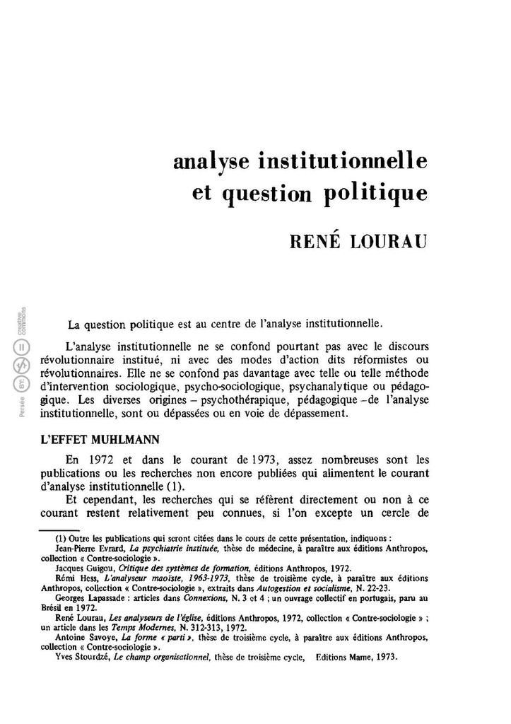 Analyse institutionnelle et question politique René Lourau