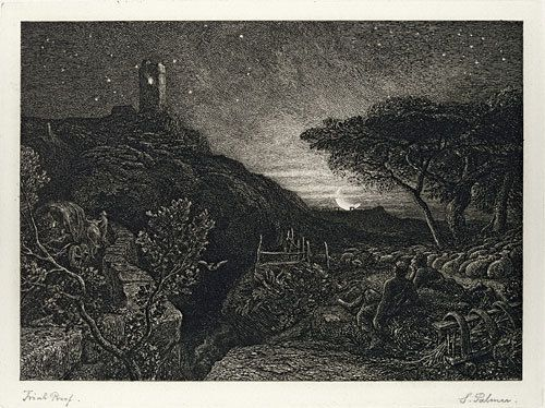 Samuel Palmer ( 1805 - 1881 ) : Lonely Tower ( 1879 ) , eau-forte .