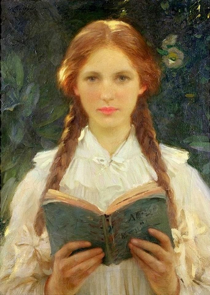 Girl with Pigtails ( circa 1910 ) - Samuel Henry William Llewellyn ( 1858 - 1941 )