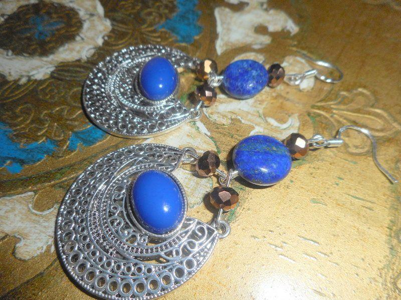 Très belles boucles d'oreilles en lapis lazuli et cristal Svarowski, crochets d'oreilles en argent 925