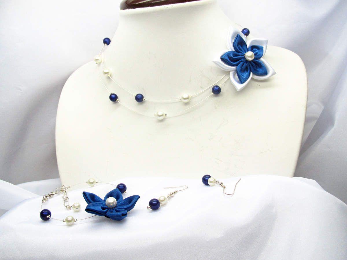 Collier Mariage Fleur Bleue Collier Deux Rangs Perles