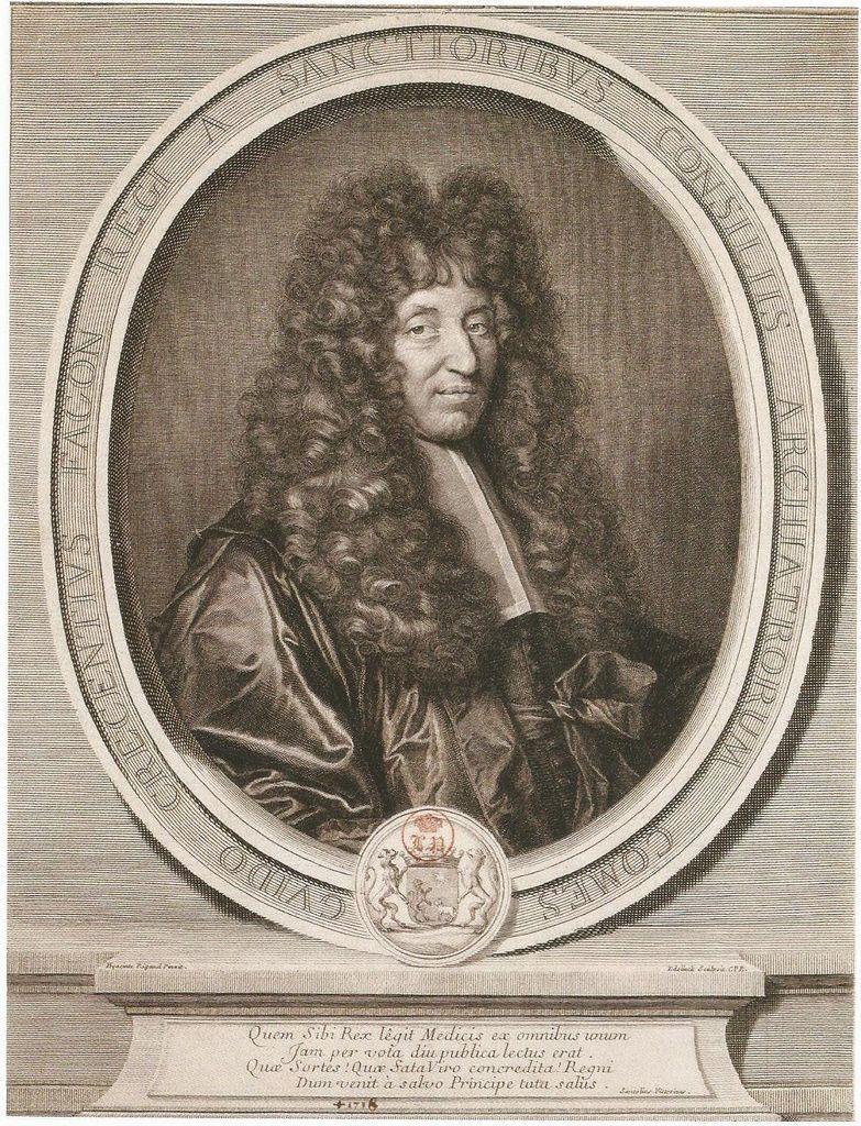 Gravure de Guy-Crescent Fagon par Edelinck d'après Rigaud (1702) Perpignan, musée Rigaud.
