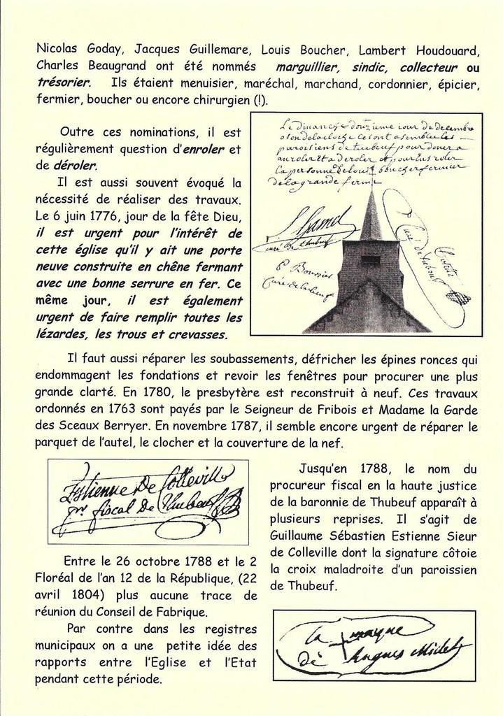 Infos Patrimoine n° 2... la paroisse de Thubeuf de 1769 à 1906.