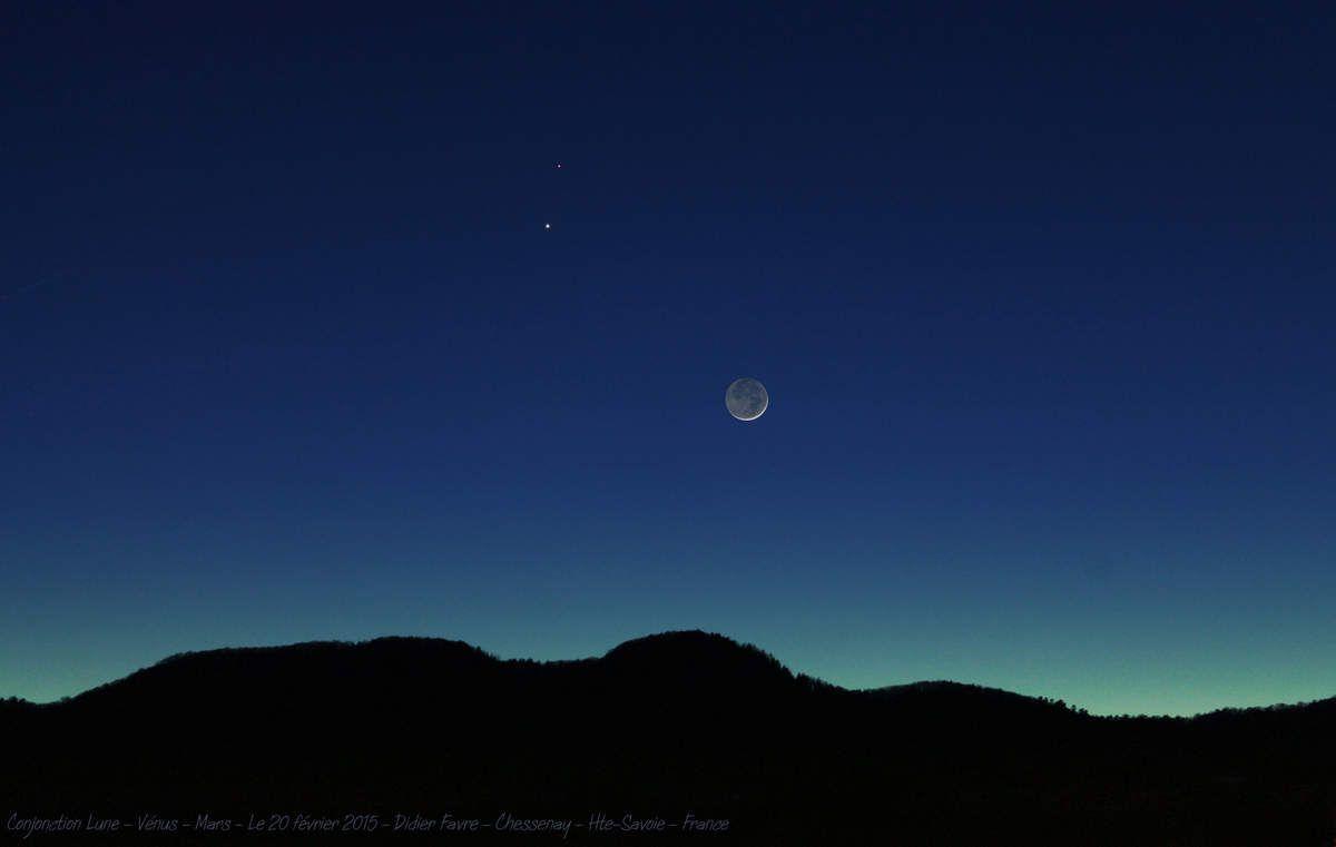 Conjonction Lune-Vénus-Mars depuis Chessenay, Hte-Savoie, France