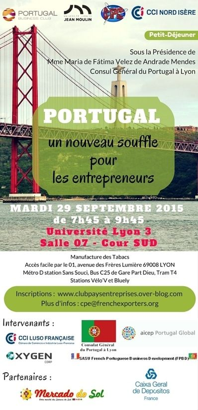 Inscription - Petit-déjeuner PORTUGAL le 29 Septembre 2015 à l'université Lyon 3