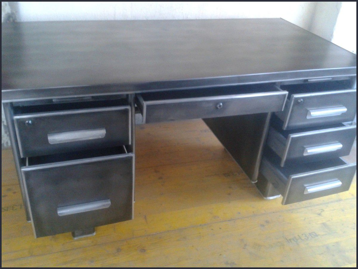 Bureau Industriel Metal Simple Bureau Industriel Tiroirs With