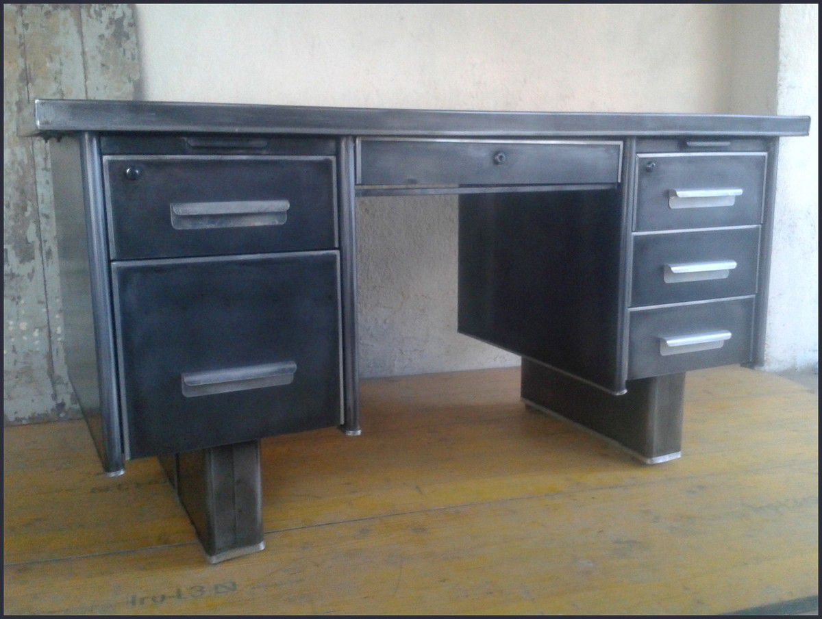 bureau industriel metal bureau bois metal bureau industriel metal noir achat vente bureau. Black Bedroom Furniture Sets. Home Design Ideas
