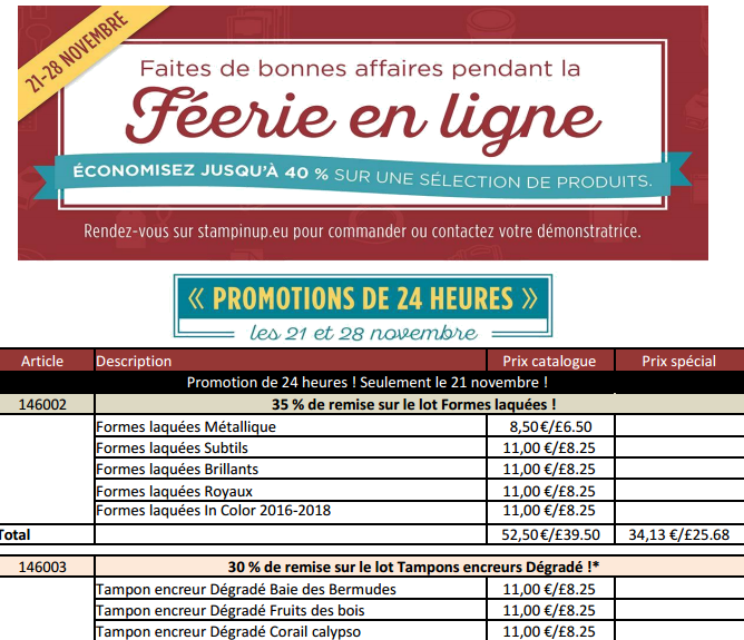 PROMOTIONS STAMPIN'UP LISTE DE NOVEMBRE  ATTENTION CERTAINES QUE 24 HEURES