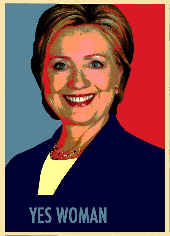 "Yes woman - Hillary Clinton - Détournement Catherine Gheselle de l'image de Shepard Fairey ""Yes we can"", campagne Obama"