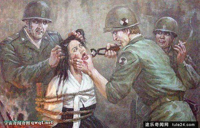 """""""Affiches de guerre reflétant les atrocités commises par les militaires américains contre le peuple coréen"""". Source : shenqicaca.com"""