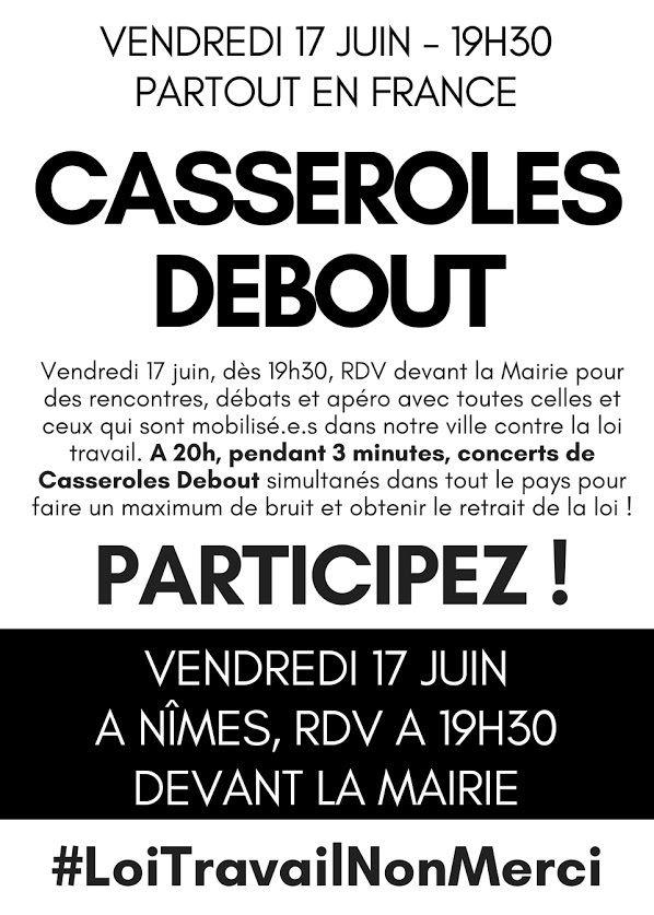 Loi Travail Non Merci ♪ Casseroles Debout ♫ Partout en France