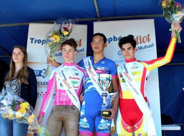 Louka PAGNIER sur le podium du CM du trophée Madiot à Châteaubriant (Photo : http://www.sportbreizh.com)