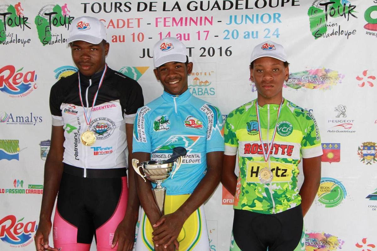 Photo : Le podium final du tour cycliste de Guadeloupe Junior – De Gauche à droite Quentin LUXEUIL 2e, Jérémy DELOUMEAUX 1er & Edwin NUBUL 3e (Photo : Comité cycliste de la Guadeloupe)