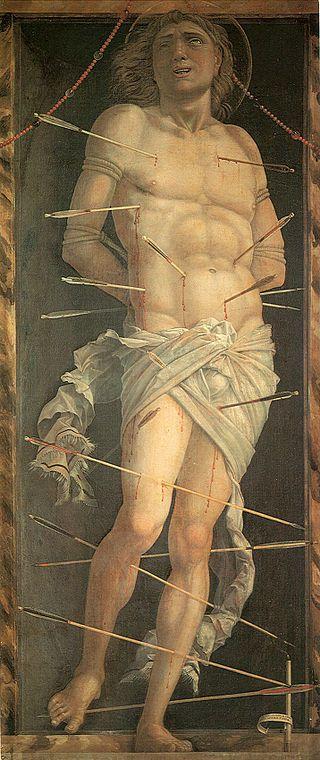 Le martyr de saint Sébastien, Andrea Mantegna, 1490. Panneau, 68/30cm. C'ad'Oro, Venise