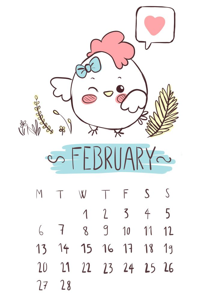 February's calendar page download
