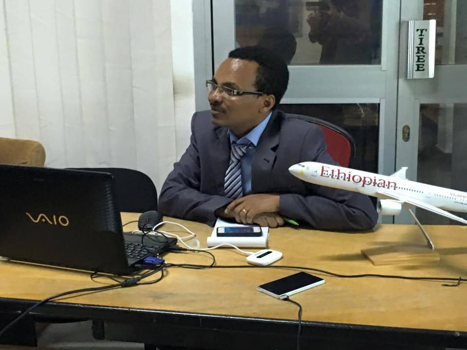 Area manager ET Cameroon Mr Tesfaye Girma during the Camer Blogger Hangout