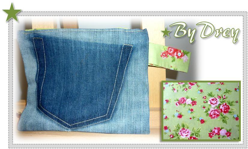 """The pochette du """"BIG BAG ByDrey"""" n° 4 - pochette en jean denim intérieur fleuri vert pomme, fermeture éclair"""