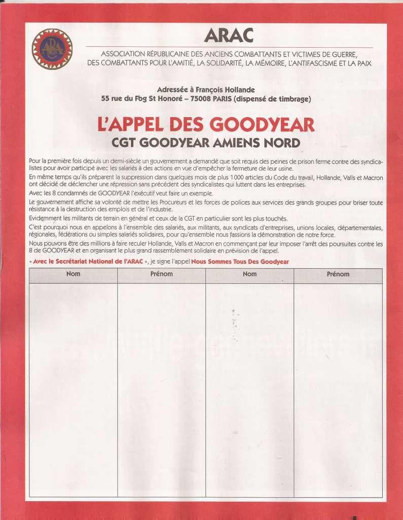 LES 8 DE GOODYEAR : APPEL AU  RASSEMBLEMENT ET DECLARATION DE L'ASSOCIATION REPUBLICAINE DES ANCIENS COMBATTANTS