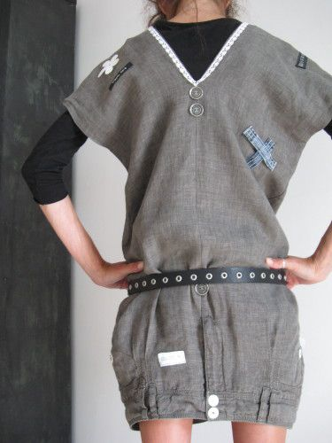 pantalon recyclé en robe ou tunique
