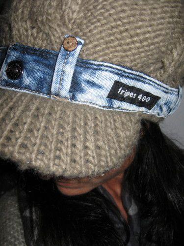 casquette + ceinture de jean recyclée