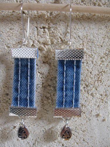 boucles d'oreilles en passants de jean recyclés