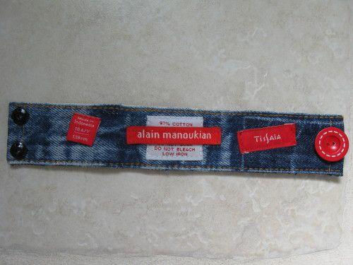 2 bracelets en jean recyclé et 1 cadre