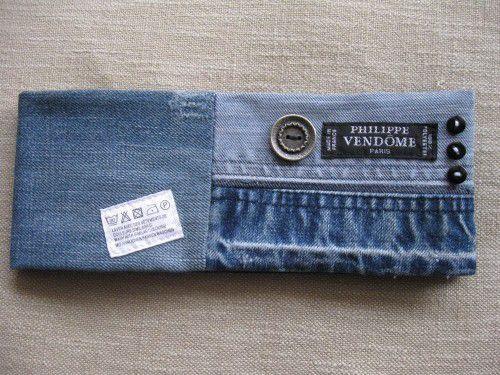 porte chéquier long en jean recyclé