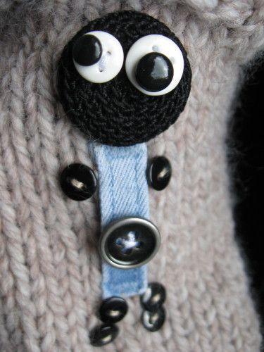 mitaines bonzhommes en jeans recyclés et chauffe poignets
