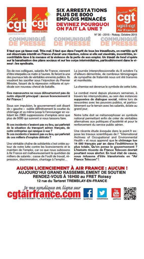 A Air France comme ailleurs, la criminalisation syndicale ne passera pas