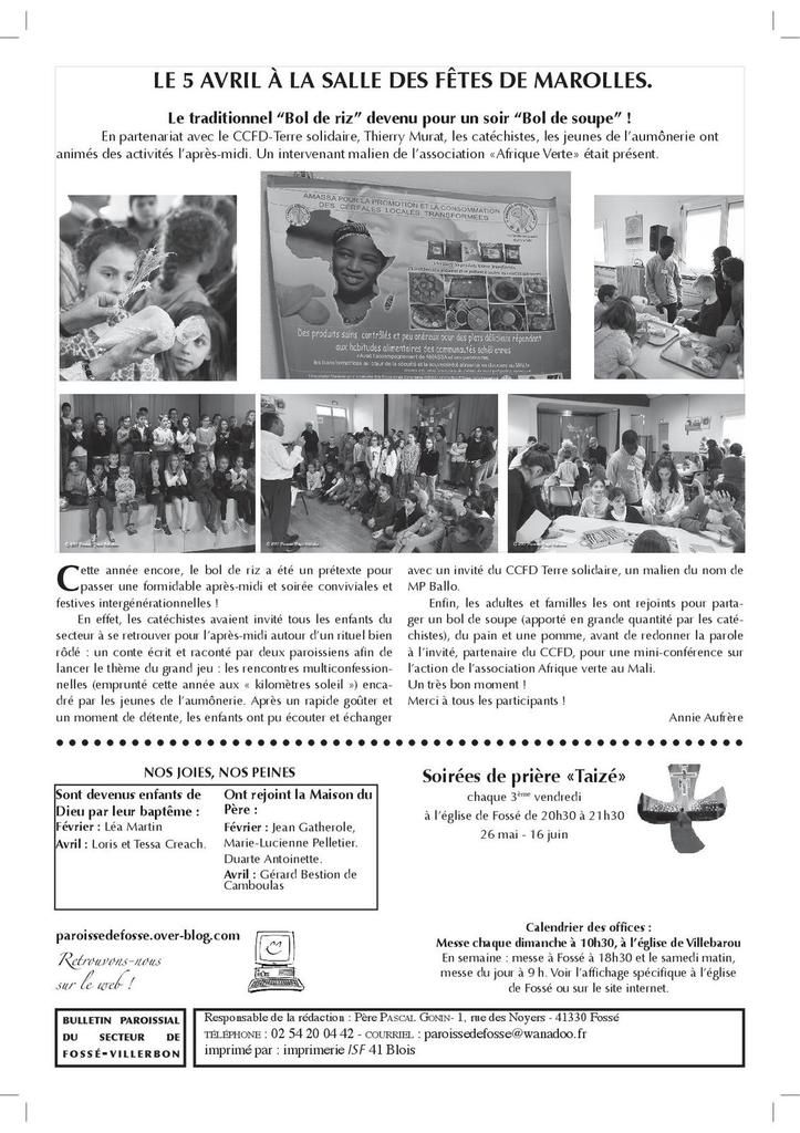 Bulletin paroissial d'avril/mai 2017 N° 34