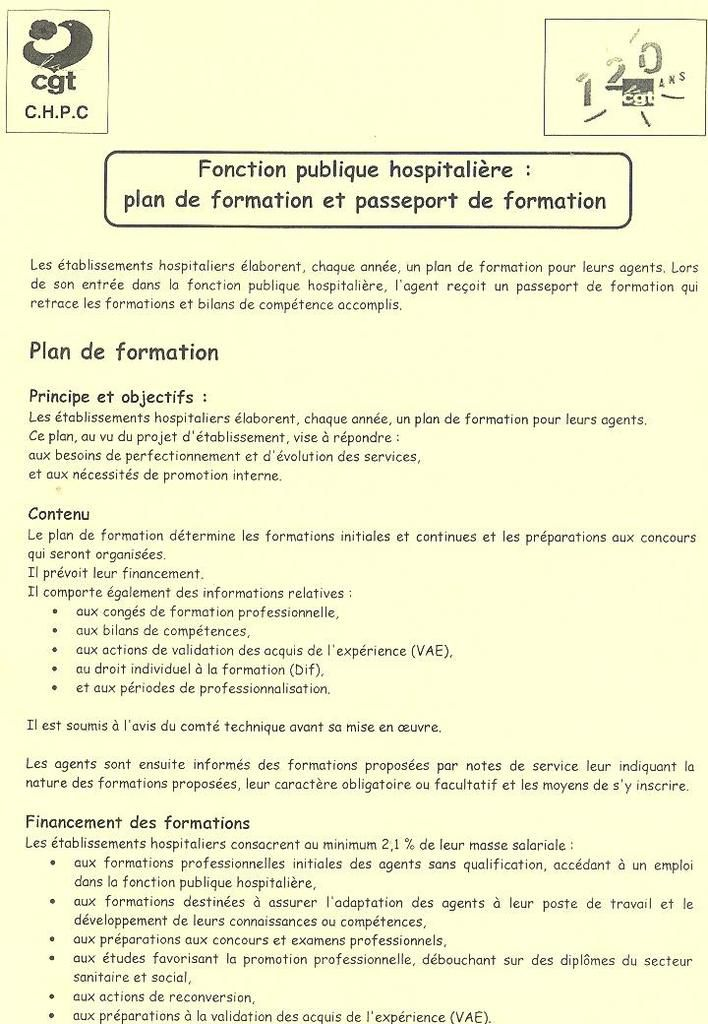 Tract  Plan de Formation FPH