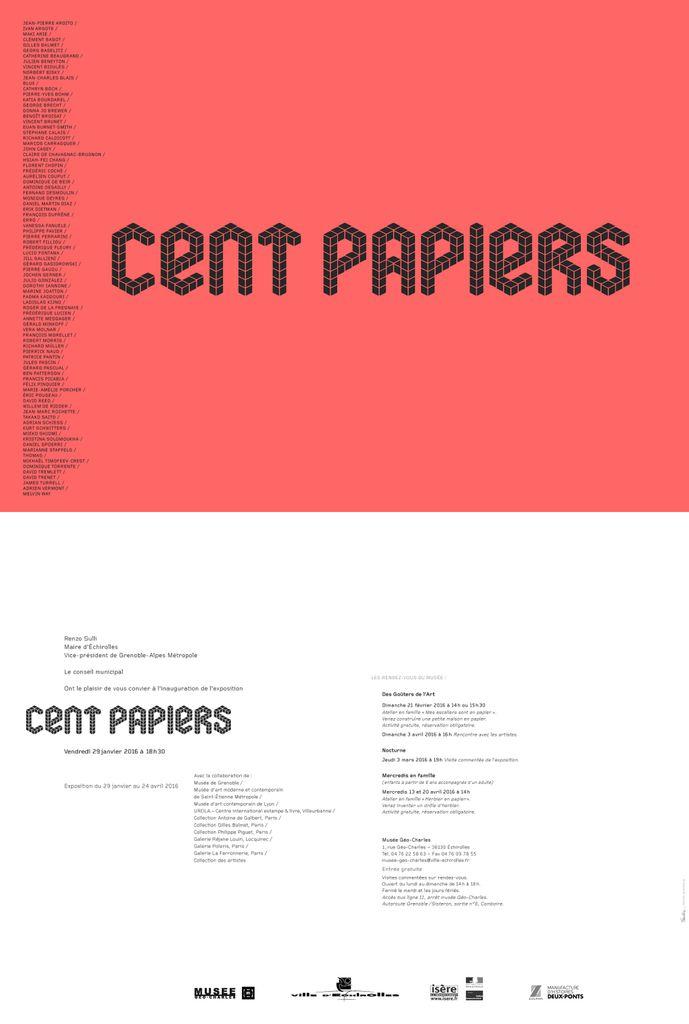 &quot&#x3B;Cent papiers&quot&#x3B;... issus de collections privées. J'y participe avec des oeuvres de Bagot, Baselitz, Blais, Ferrarini, Gallieni, Gasiorowski et Kijno...