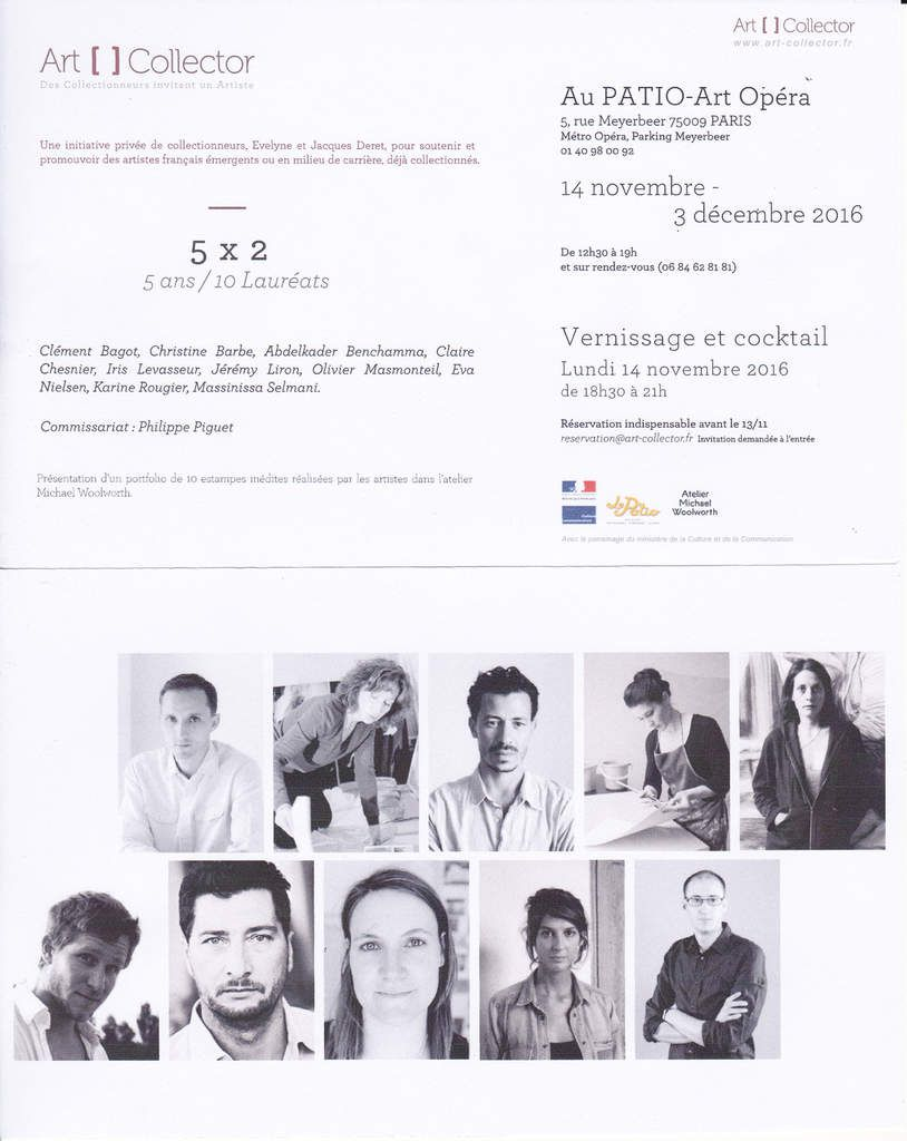 Paris 9e, au Patio Opéra, commissariat de l'exposition &quot&#x3B;art []collector 5 x 2 - 5 ans/10 lauréats &quot&#x3B;, vernissage lundi 14 novembre 2016, à 18h30...